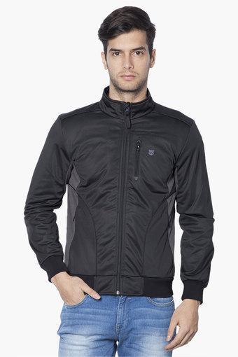 Mens Zip Through Solid Jacket (Biker Fit)