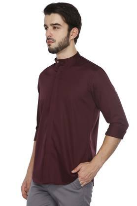 Mens Band Collar Solid Shirt