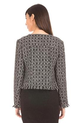 Womens Round Neck Printed Jacket
