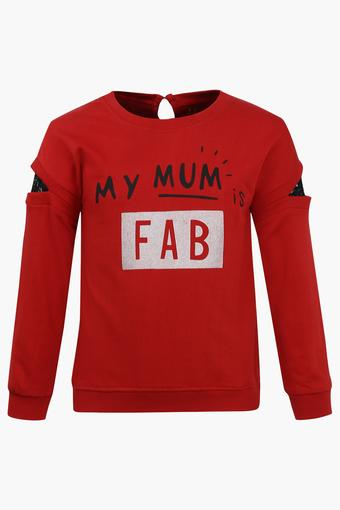 Girls Round Neck Printed Sweatshirt