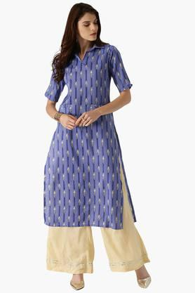 LIBASWomens Cotton Straight Printed Kurta With Front Pocket