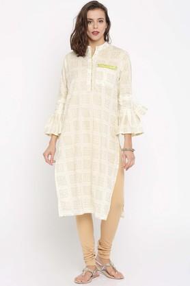 JASHNPure Cotton Ethnic Motifs Mandarin Collar Kurta - 204127498_9101