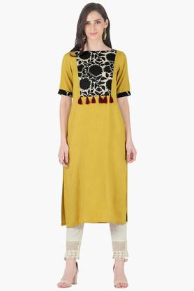 INDYAWomens Round Neck Printed Regular Fit Kurta - 203316638
