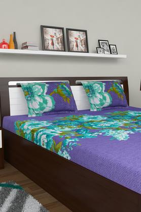 PORTICO Floral Print Double Bedsheet With 2 Pillow Covers - 203359124_9900