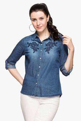 Womens Collared Embroidered Shirt