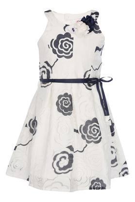 Girls Round Neck A-Line Dress With Belt