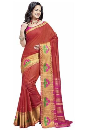 ASHIKA Plain Cotton Silk Saree With Blouse Piece - 204034535_9607