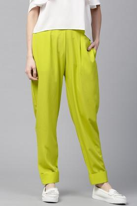 Women Crepe Solid Trouser With Both Side Pockets