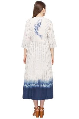 Womens Mandarin Collar Striped Shirt Dress
