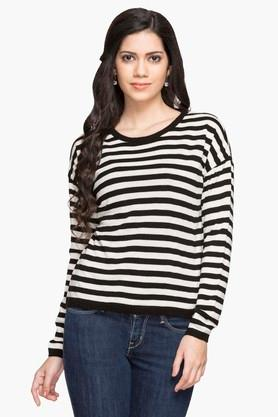 MSTAKEN Womens Round Neck Stripe Sweater - 203157278