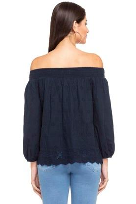 Womens Off Shoulder Solid Eyelet Top