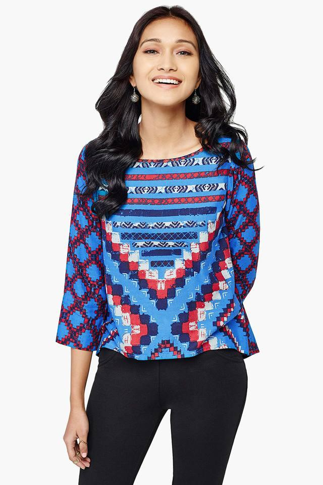 Womens Abstract Print Top