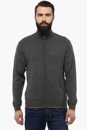 PARK AVENUEMens Zip Through Neck Slub Sweatshirt - 203430933