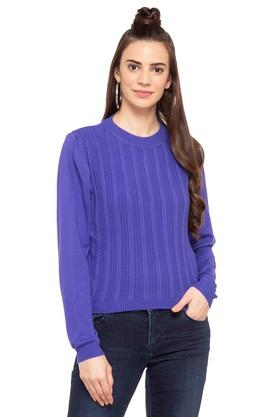 LIFEWomens Round Neck Solid Sweater