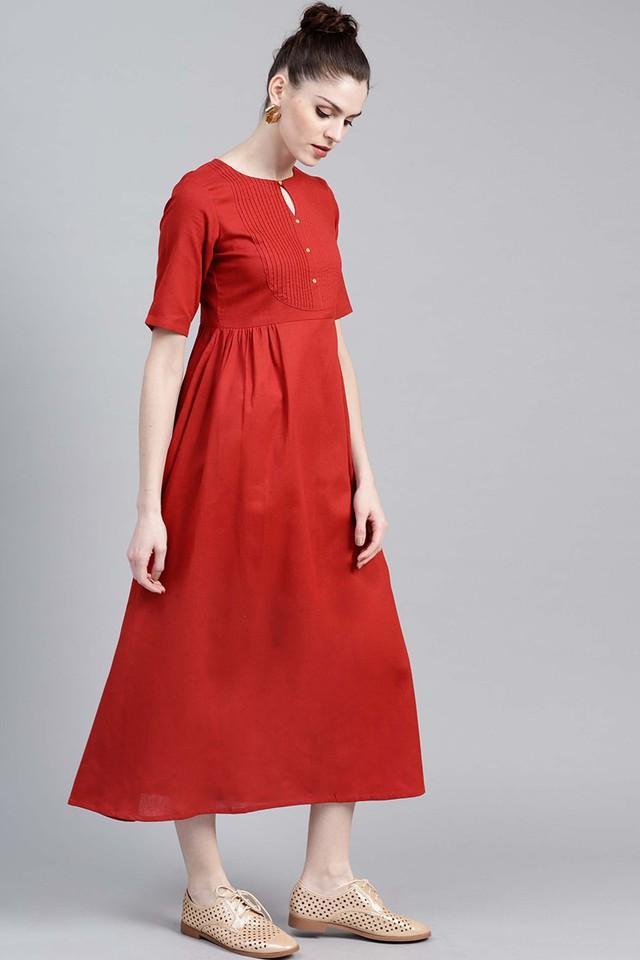 Womens Key Hole Neck Solid Calf Length Dress