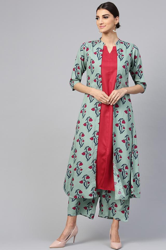 Womens Notched Collar Solid Kurta and Palazzo Set with Floral Jacket