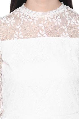 Womens Band Collar Lace Peplum Top