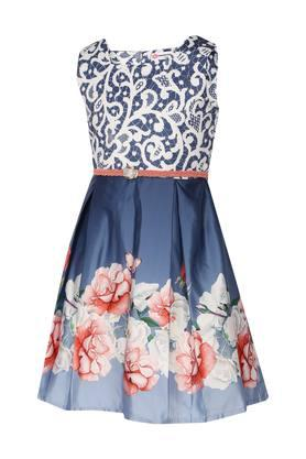 Girls Square Neck Floral Printed Pleated Dress with Belt
