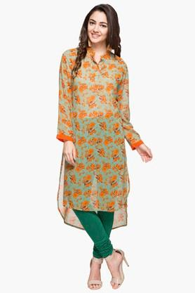 RS BY ROCKY STAR Womens Mandarin Neck Printed Dipped Hem Kurta