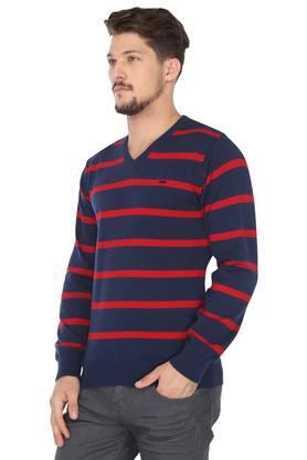 Mens V-Neck Striped Sweater