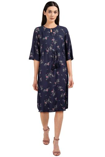 Womens Key Hole Neck Printed Midi Dress