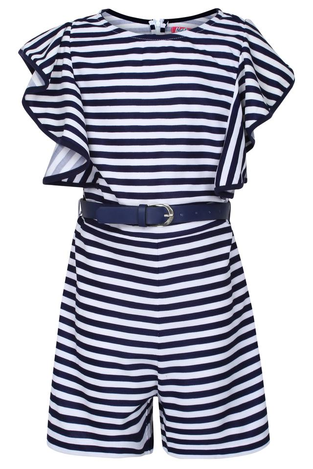 Girls Round Neck Striped Jumpsuit