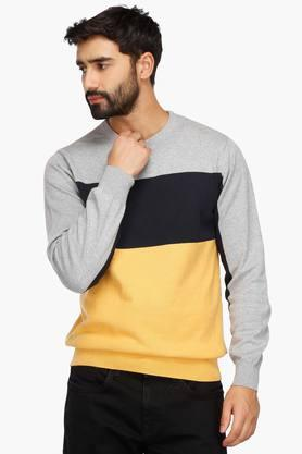 STOP Mens Round Neck Colour Block Sweatshirt
