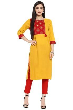 JUNIPER Womens Gold Printed Kurta With Pant