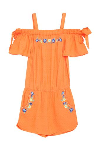Girls Off Shoulder Neck Embroidered Jumpsuit