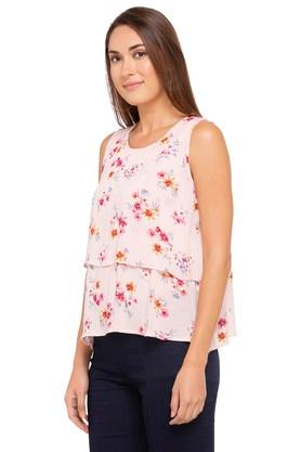 Womens Round Neck Printed Layered Top