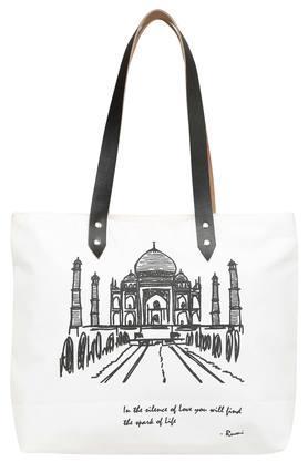 Square Taj Mahal Printed Canvas Shopping Bag