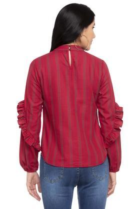 Womens Band Collar Ruffled Stripe Top