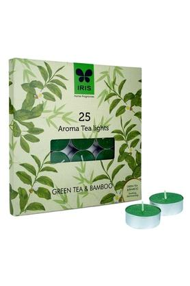IRIS Green Tea And Bamboo Aromatic Tea Light Candle Set Of 25