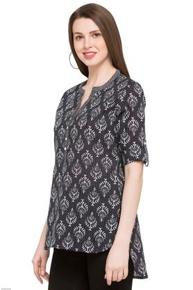 Womens Mandarin Neck Asymmetric Kurta