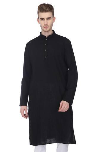 Mens Mandarin Collar Solid Kurta and Pyjama Set