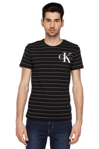 25197aec1 Buy CALVIN KLEIN JEANS Mens Round Neck Stripe T-Shirt | Shoppers Stop