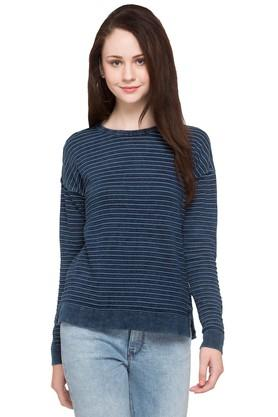 Womens Round Neck Striped Pullover
