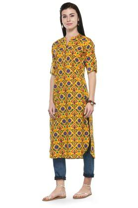 Women Cotton Floral print Straight Kurta