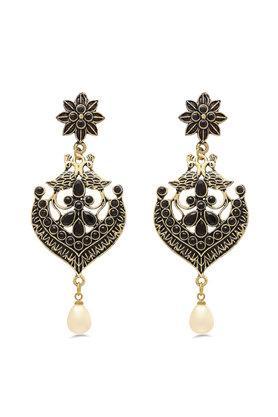 Womens Stone Studded Peacock Motif Drop Earrings