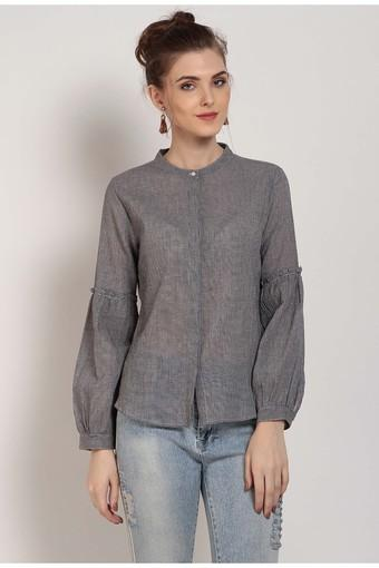 Womens Mandarin Neck Check Shirt