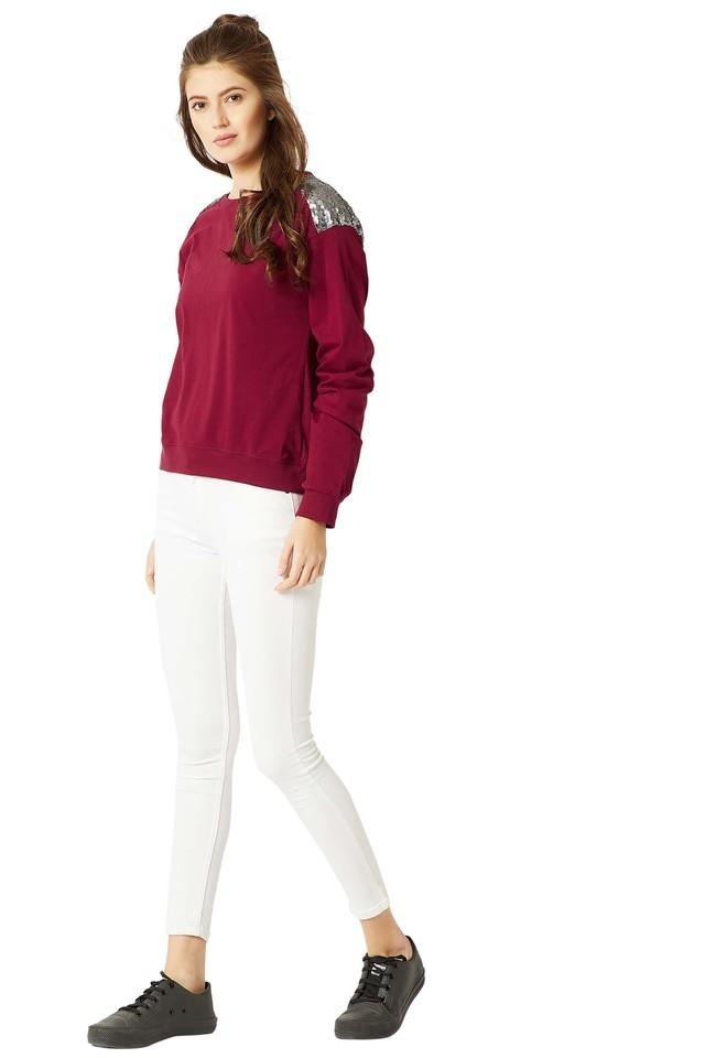Womens Round Neck Solid Paneled Sequined Sweatshirt