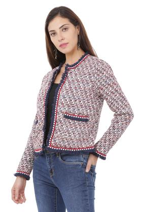 Womens Round Neck Printed Jacket