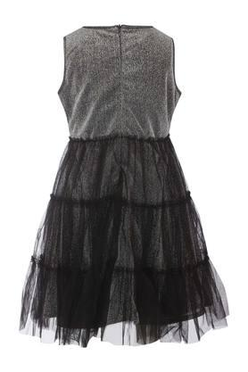 Girls Round Neck Shimmer Flared Dress