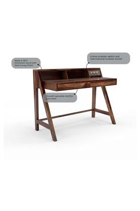 Sheesham Wood Study Table with 6 Amp Modular Switch and Socket