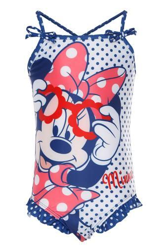Girls Spaghetti Neck Disney Character Printed Swim Trunks