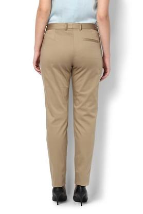 Womens 3 Pocket Solid Formal Pants