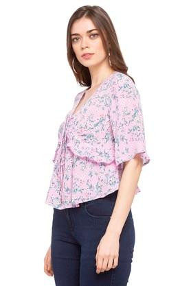 Womens Tie Up Neck Printed Ruffled Top
