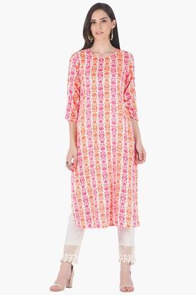 INDYAWomens Round Neck Printed Regular Fit Kurta - 203316691