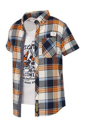 Boys Collared Check Shirt with Tee