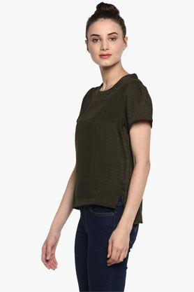 Womens Round Neck Chequered Top